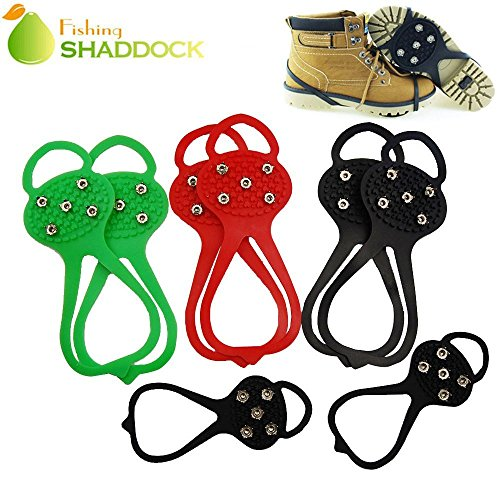 Shaddock Fishing 1Pair with 5 Teeth Ice Shoe Grips Non-slip Snow Shoes Boots Cover Overshoes Step Ice Cleats Spikes Grips Crampons (Black-adult)