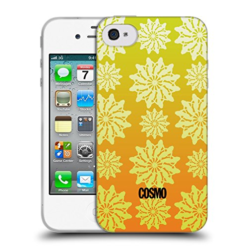 Official Cosmopolitan Ombre 4 Floral Patterns Soft Gel Case for Apple iPhone 4 / 4S