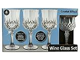 Bulk Buys OH017-16 Crystal Effect Plastic Wine Glass Set - 16 Piece