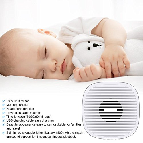 White Noise Machine, Portable Sound Machine, Sleep Sound Therapy Machine with 20 Soothing Natural Sounds Music for Baby,Adults. Built in USB Output & Timer(Slim Design) (White)