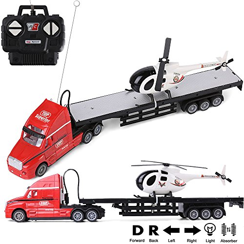 1:20 Scale Battery Operated Big Rig Semi Long Hauler Trailer with Helicopter Detachable Flatbed Transporter Toy Truck with Lights & Sounds, Christmas Great Gift for Kids, (Large Car Transporter)