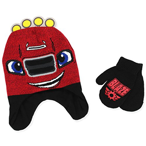 Blaze and the Monster Machines Boys Beanie Hat and Mittens Set (One Size, Dark (Blaze Monster Truck Costume)