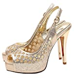 XIUWU Womens Peep Toes Pumps Pearls Hollow Out Wedding Party High Heels