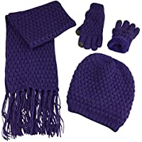 N'Ice Caps Big Girls Sherpa Lined Popcorn Stitch Beanie Gloves Scarf 3PC Set