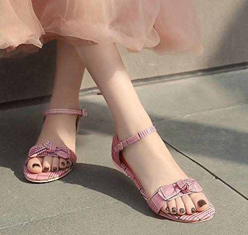 Sandales Bout Plates Fille Confortable Ouvert Aisun Rouge Outdoor Femme 7HOB1
