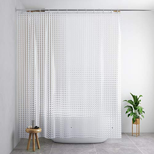 (Docamor Shower Curtain Liner, Waterproof Shower Curtain 71x79in 0.2 MM 100 Percent EVA Bath Curtain 3D Cat's Eye, More Safe, Shower Liner with 12 Curtain Hooks)