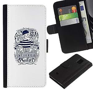 All Phone Most Case / Oferta Especial Cáscara Funda de cuero Monedero Cubierta de proteccion Caso / Wallet Case for Samsung Galaxy S5 Mini, SM-G800 // Sailor Text White Ink Tattoo Captain
