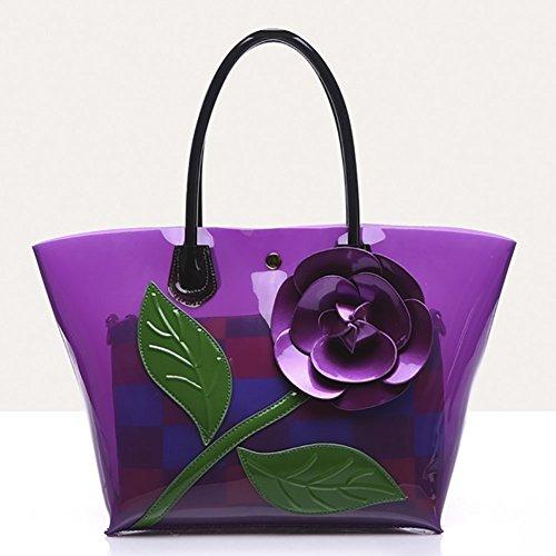 Purple Shoulder PU Bags Flower Bags Tote QZUnique Women's Rose Bags Bucket Handbag Leather PH67Wq