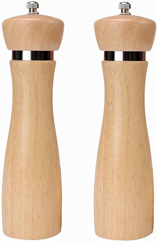 Dianoo Manual Kitchen Wooden Pepper Mill Salt Grinder-Set Of 2pcs,Long And Short