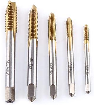 HSS Thread Screw Tap Kit , 5pcs//Set Titanium Coated High Speed HSS Thread Screw Tool Set, M3 M4 M5 M6 M8 Forward Chip Ejection