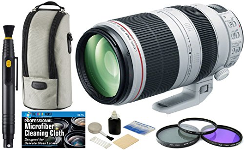 Canon EF 100-400mm f/4.5-5.6L is II USM Zoom Telephoto Lens + Filter Kit + Accessory Bundle (Canon Eos 5d Mark 3 Best Price)