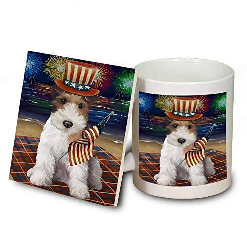 4th of July Independence Day Firework Wire Fox Terrier Dog Mug and Coaster Set MUC52466 (Independence Safe Coasters Dishwasher)
