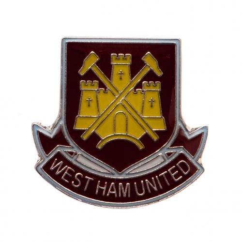 West Ham United F.C. Badge- metal badge- enamel finish- stud fix- approx 25mm x 25mm- on a backing card- Official Football Merchandise - Enamel Studs Metal