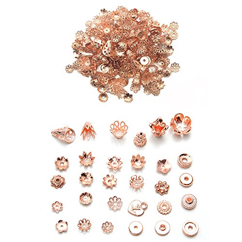 HanYan Mixed Bead Spacers Metal Spacers Rose Gold Mixed Charms 6-10 mm 200+ Pcs Bead Spacers for Jewelry (Gold Spacers Bead)