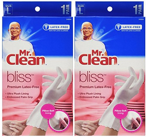 Mr. Clean Bliss Premium Latex-Free Gloves, Large 1 pr (Pack of 2)