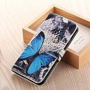 Modelo de mariposa de color dibujo de cuero de la PU caso de cuerpo completo con ranura para tarjeta de soporte para el iPhone 6 más (colores