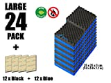 Blue Egg Crate Foam Arrowzoom New 24 Pack of Blue & Black (9.8 in X 9.8 in X 1.1 in) Convoluted Foam Soundproofing Insulation Egg Crate Acoustic Wall Padding Studio Foam Tiles (BLUE&BLACK)
