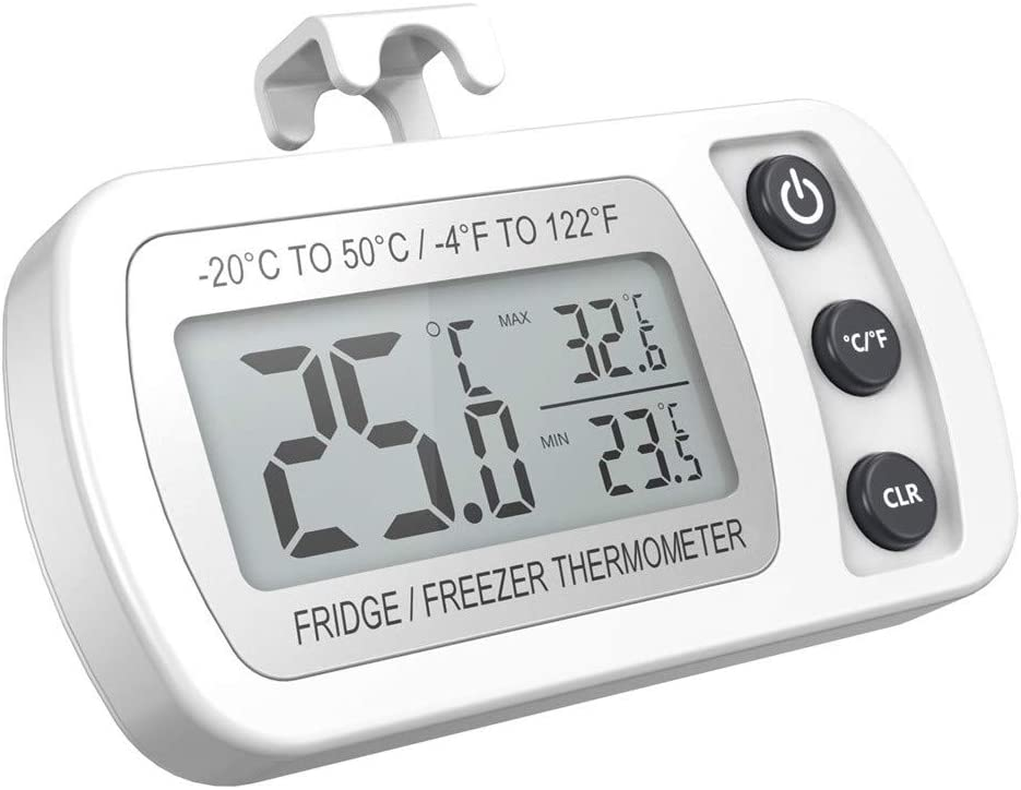 Nourich Max//Min Record Function with LCD,Accurate and Fast Readings 2 Pack Digital Refrigerator Freezer Thermometer