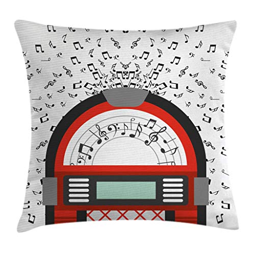 Red Club Notes - Ambesonne Jukebox Throw Pillow Cushion Cover, Cartoon Party Music Antique Old Vintage Retro Box with Notes Artwork, Decorative Square Accent Pillow Case, 18 X 18 Inches, Red Black Grey and White