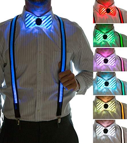 Neon Nightlife Men's LED Suspenders & Bowtie Set, Light Up, 7 Color Selection LED Battery Pack, One Size]()