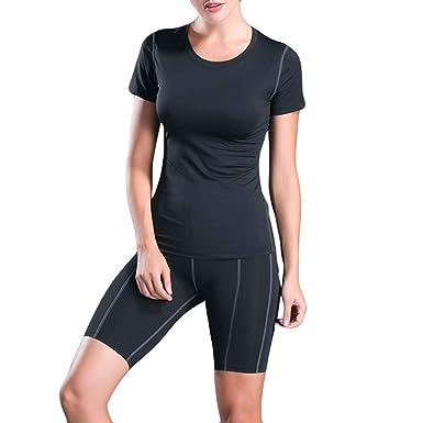 Amazon.com: CapsA Womens Active Yoga Shorts Yoga Running ...