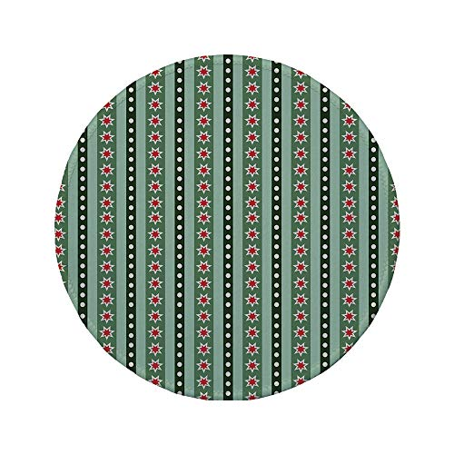 Non-Slip Rubber Round Mouse Pad,Geometric,Stars Stripes and Polka Dots Pattern Ornamental Christmas Motifs,Hunter and Almond Green Red,7.87