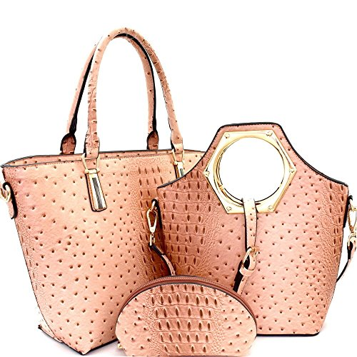 New! Le Miel 3pc Ostrich Embossed Set: Zip-top Shopper, Tote + Cosmetic ()