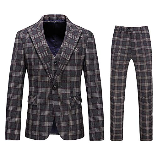 Mens 3-Piece Suit Plaid Slim Fit One Button Single-Breasted Wedding Blazer