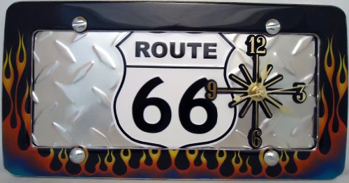1 , Quartz Clock, on a, 'ROUTE 66, on a, DIAMOND PLATE', Metal Sign, in a, Metal, Flames, Frame,,10A3.0&29B2.4