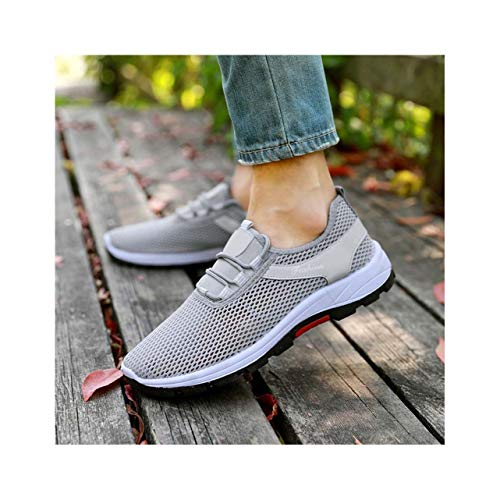 KKEPO& Casual Shoes Men Slip on Sneakers 2019 Summer Breathable Mens Flats Off White Black Shoes Mesh Loafers Zapatos De Hombre XX-539 Gray 8