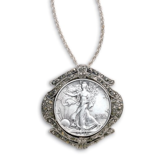 Silver Walking Liberty Half Dollar Marcasite Coin Pin/Pendant Coin Jewelry