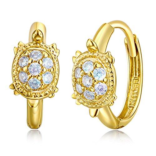 Wellingsale Ladies 14k Yellow Gold Polished Turtle CZ Huggies Earrings (10 x 10 mm) 14k Yellow Gold Turtle