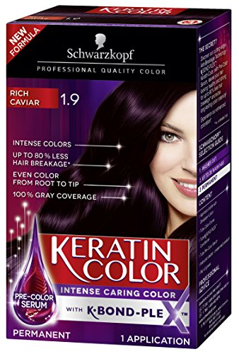 Schwarzkopf Keratin Color Permanent Hair Color Cream, 1.9 Rich Caviar(Packaging May Vary) (Best Demi Permanent Purple Hair Color)