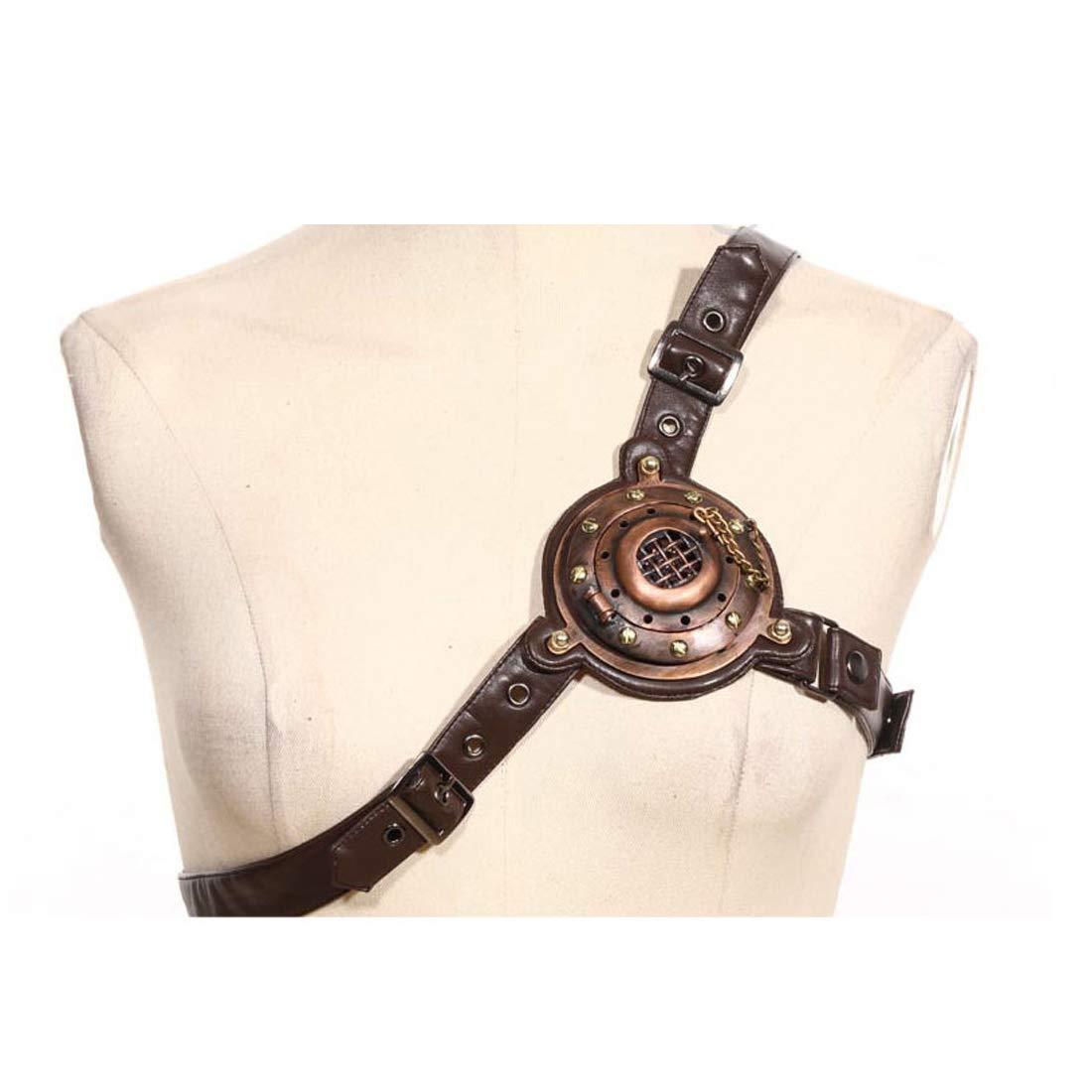Fengxinwuzi unisex Steampunk vittoriano imbracatura cinghie cintura accessorio con luce LED Adventurer costume Marroneee, Marronee, large