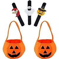 PHIEZC Halloween pompoen snoep bag snap armbanden snoep bedeltassen 2 stuks pompoenzakken 3 stuks snaapp-armband…