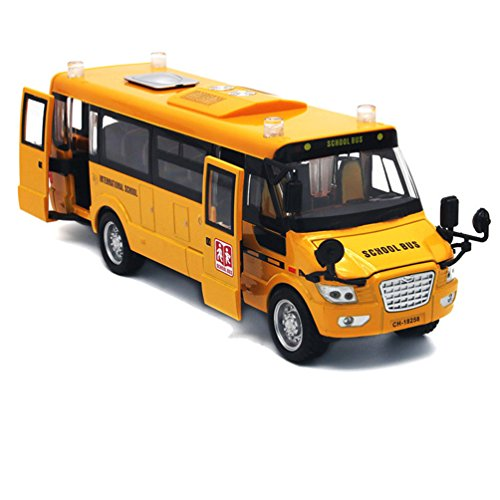 "Mallya 9"" Yellow Pull Back School Bus Alloy Diecast Toy Vehicles with Lights Sounds and Openable Doors"