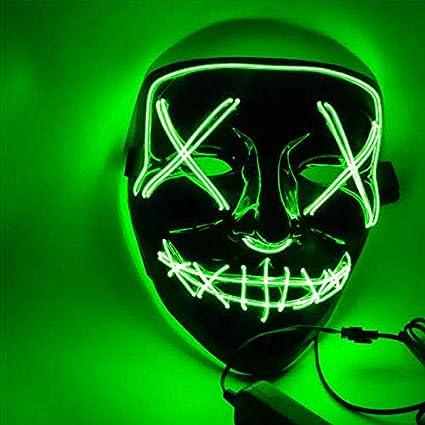 Sinwind Mascara Halloween LED, Máscara de Halloween, Máscaras Halloween de Terror, Halloween Mask para Halloween Cosplay Grimace Festival Fiesta Show ...