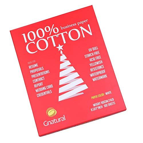100% Cotton Paper 8.5 x 11 Watermark Paper,24lb Inkjet Laser Printing Paper,8.5