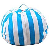 TTnight Multi-Purpose Creative Stuffed Animal Storage Bean Bag Stripe Canvas Chair Portable Kids Clothes Plush Toy Organizers Large Capacity Soft Pouch Organization Stuffed Anima