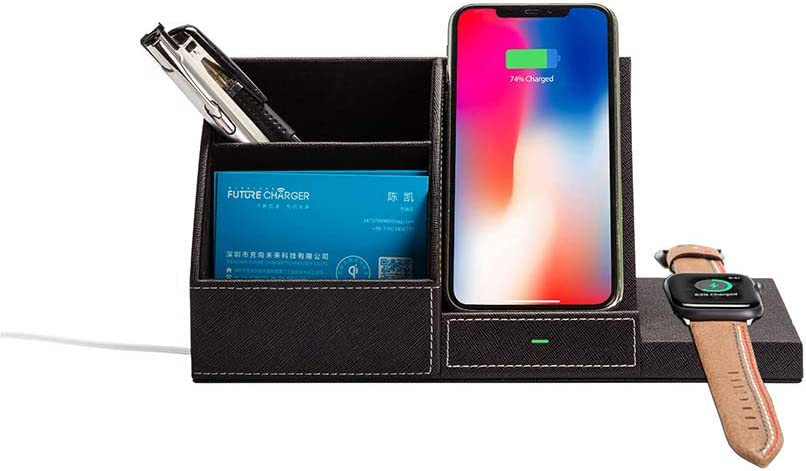 SN-RIGGOR Fast Charging Wireless Charger Desk Dock Station Desk Organizer with Pen Holder PU Leather for iPhone 11 Pro/XS MAX/XR /8 Plus/Apple Watch/Galaxy Note 10 Plus/Note 9/S10/S9 (Black)