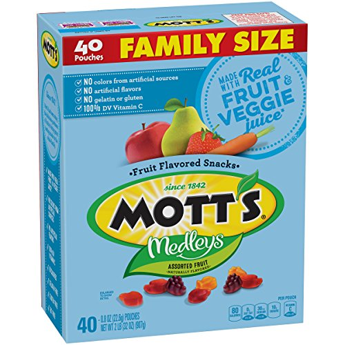 Mott's Medleys Fruit Snacks, Assorted Fruit Gluten Free Snacks, Family Size, 40 Pouches, 0.8 oz Each