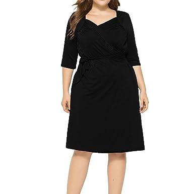 Kaniem Women\'s Plus Size Dress Fashion V Neck Tie Waist Half Sleeve ...