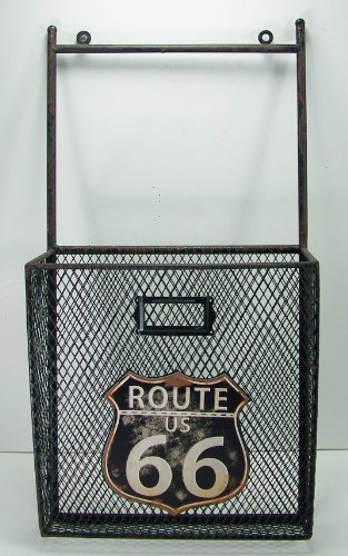 Vintage Style Route 66 Metal Wall Pocket Organizer Magazine Holder by DCI