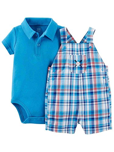 Carter's Just One You Baby Boys' Plaid Baseball Shortall - Blue/Teal (3 Months)