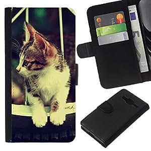 All Phone Most Case / Oferta Especial Cáscara Funda de cuero Monedero Cubierta de proteccion Caso / Wallet Case for Samsung Galaxy Core Prime // Cute Retro Cat Hammok