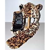 Leopard Fauxfur Hood Plush Animal Hat with Long Black Mittens by Animal Hood