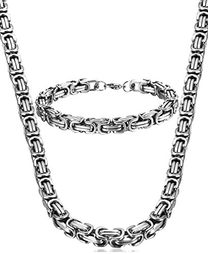 Jstyle Stainless Steel Male Chain Necklace Mens Bracelet Jewelry Set, 8mm Wide, 8.5 inch 22 24 30 inch by Jstyle
