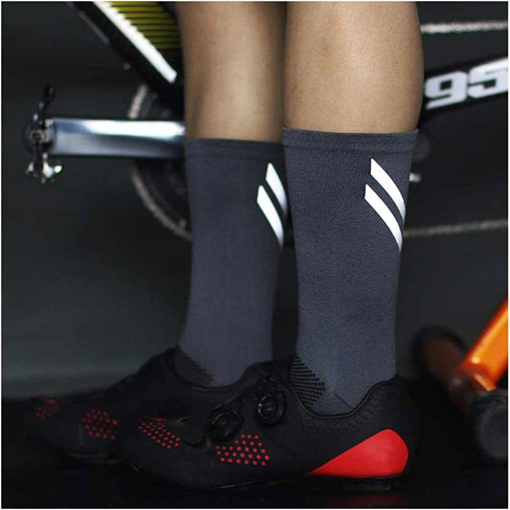 HD SPORTS Mens Cycling Socks 3 Pairs Padded Bike Socks Reflective Cycling and Running Socks Night Safety Running Gear Ankle Crew Size 6-11