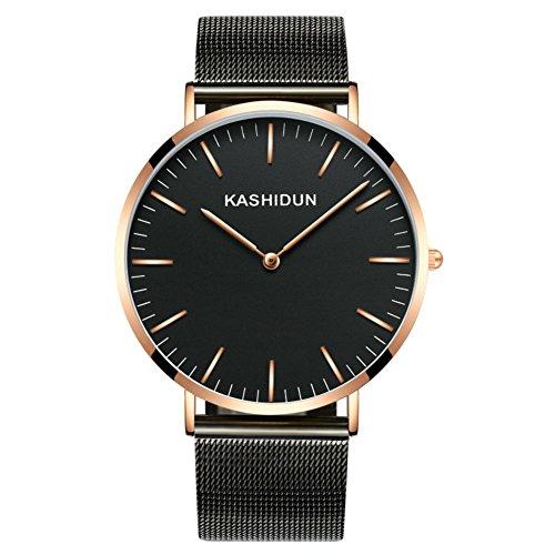Stylish Woman Man Quartz Analog Wrist Watch Strip Dial Blue Band - 1
