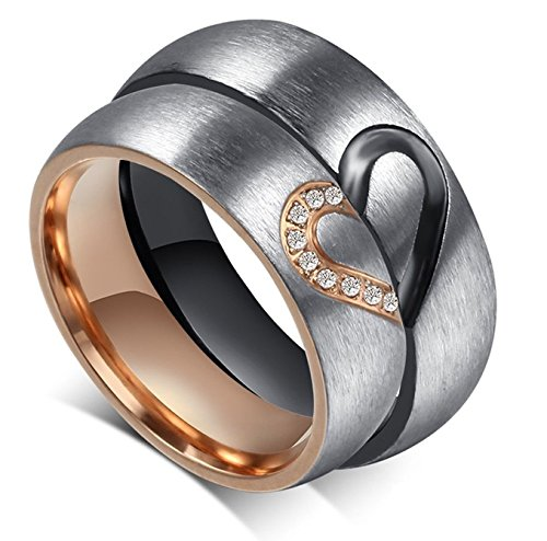 Global Jewelry Amazing Titanium Stainless Steel We Love Each Other Wedding Band Set Anniversary/Engagement/Promise/Couple Ring Best Gift!(Half